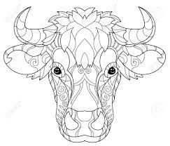 doodle outline cow decorated with ornaments vector