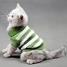 sweaters for cats amazon com striped cats sweater aran pullover knitted clothes
