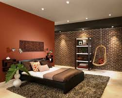 bedroom recessed lighting design with brick bedroom wall and wooden shelf also small swing facing gray rug under white plant pot