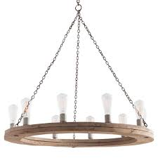 Ring Chandelier Sona Industrial Loft Rustic Wood Ring Chandelier 36d Kathy Kuo