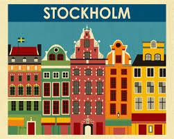 stockholm art print stockholm skyline sweden retro travel
