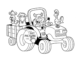 funny farm animal in tractor coloring page for kids animal