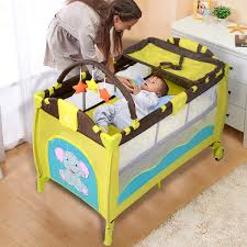 Baby Crib Mattress Sale Goplus Green Baby Crib Playpen Playard Pack Travel Infant Bassinet