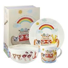 little rhymes noahs ark fine china 3 piece childrens breakfast set