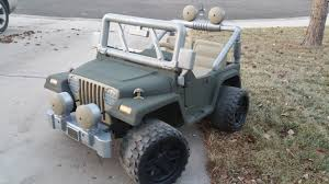army jeep 2017 so i bought my son a used pink and purple barbie powerwheels for