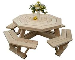 amazon com white cedar octagon walk in picnic table patio