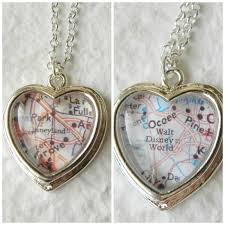 World Map Necklace by Disneyland Or Walt Disney World Map Necklace Petite Heart