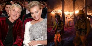 portia hair company ellen degeneres and portia de rossi evacuate their home as fire