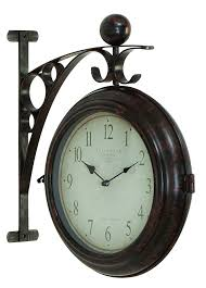 metal home decorating accents train station style wall hanging round clock black metal home decor