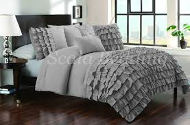 100 egyptian cotton 800 tc silver grey half ruffle duvet cover set