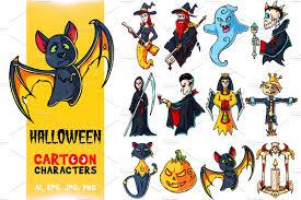 halloween cartoon characters set illustrations creative market