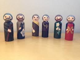 look to him and be radiant peg doll nativity