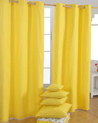cotton plain yellow ready made eyelet pair homescapes