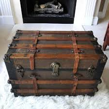 brown rectangle rustic wooden treasure chest coffee table designs to