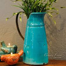 turquoise kitchen vases tuscan decorating accessory country