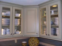 Glass Door Kitchen Wall Cabinets Corner Soft Gray Wooden Cabinet With Glass Doors Plus Silver Steel
