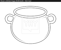 halloween coldren background empty witch cauldron pot outline vector illustration isolated on