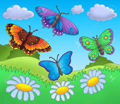 butterflies on meadow color illustration stock photo picture and