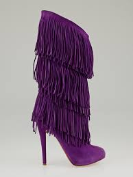 christian louboutin purple suede forever tina fringe boots size