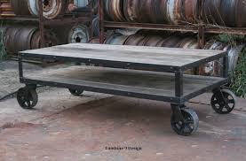 reclaimed wood coffee table with wheels vintage industrial coffee table with wheels rustic coffee