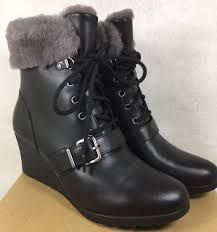 for 8 12 years ugg ugg australia janney black leather shearling wedge ankle boots