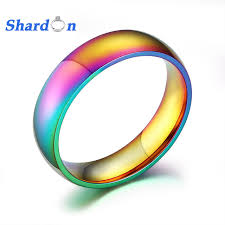 mens comfort fit wedding bands shardon 6mm iridescent classic stainless steel ring comfort fit