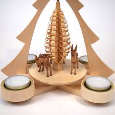 christmas tree tealight pyramid with deer from the erzgebirge germany