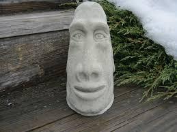 Cement Garden Decor Moai Head Statue Concrete Easter Island Tiki Head Garden