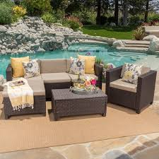 L Shaped Sectional Sofa Puerta Outdoor 6 Piece Wicker L Shaped Sectional Sofa Set With