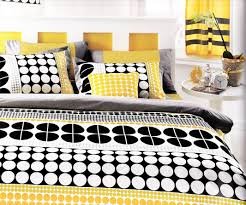 Yellow Bedding Set Modern Bedroom With Geometric Bedding Set In Yellow Black Small