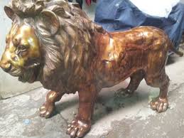 metal lion statue brass artware torcoushe buddha exporter from new delhi