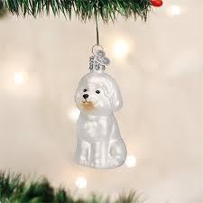 world bichon frise glass tree ornament 3 25 inch