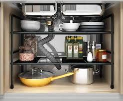 sink kitchen cabinet organizer sink 2 tier expandable shelf organizer rack kitchen cabinet shelf bathroom pantry storage black