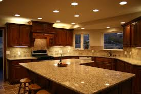 kitchen recessed lighting design ideas with marble countertops