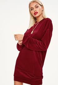 maroon sweater dress velour hooded sweater dress missguided