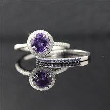 halo engagement ring settings bridal ring set amethyst halo engagement ring set and