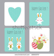 Easter Bunny Decorations Sale by Vector Set Easter Small Cards Funny Stock Vector 388658797
