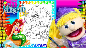 ariel the little mermaid coloring book page crayons giant surprise