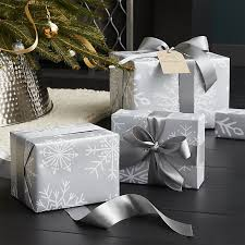 silver christmas wrapping paper silver snowflake wrapping paper crate and barrel