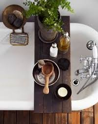 rustic timber bath caddy handmade with wine glass holder bath
