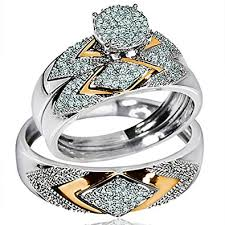 his and rings set his wedding rings set trio men women 14k white
