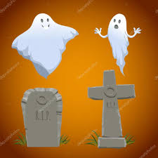cartoon halloween icons set old looking christian cross tombstone