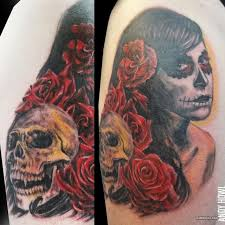 day of the dead roses skull design tattooshunt com