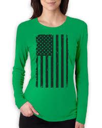 Funny American Flag Shirts Big Black American Flag Vintage Distressed Usa Flag Women Long