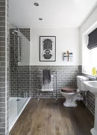 bathroom beadboard subway tile black and white floor grey walls