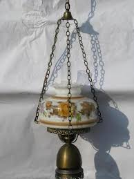 Chandelier Swag Lamp Vintage Swag Lamp Golden Roses Painted Glass Shade Hanging Light