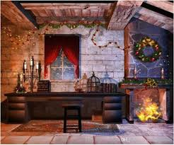 indoor house fireplace garland christmas photography backdrops