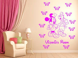 minnie mouse and daisy duck personalised wall sticker nurser wall minnie mouse and daisy duck personalised wall sticker nurser wall decal wall art pink by wall decor 247