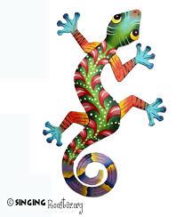 colorful gecko wall art handmade fair trade haiti