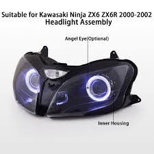 kt headlight for kawasaki ninja zx6r zx 6r 2000 2002 led angel eye